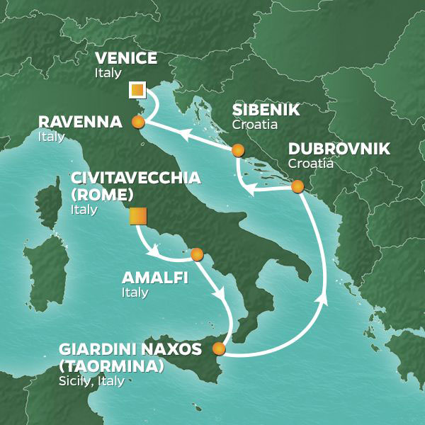Mediterranean Redentore Festival cruise itinerary map with stops throughout Italy and Croatia