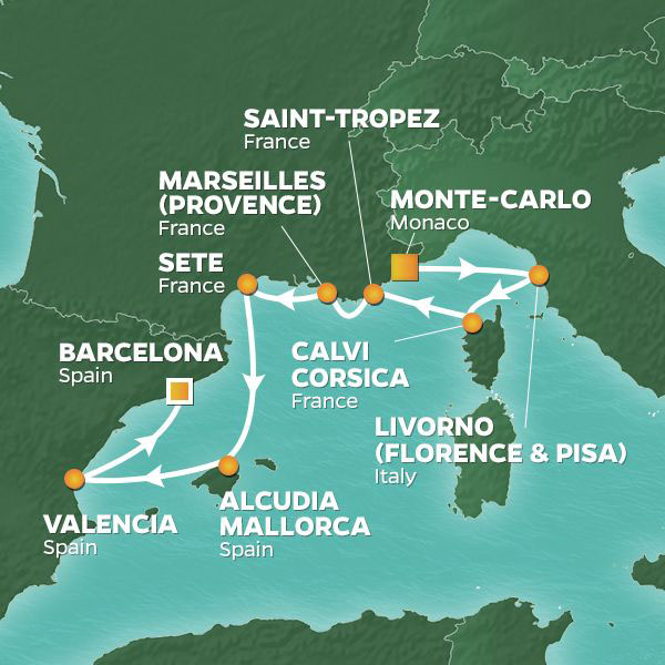 Mediterranean Rivieras and Hideaways cruise itinerary map, Monte-Carlo to Barcelona