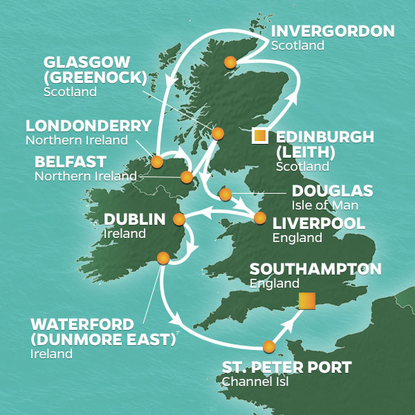 Bagpipes, Shamrocks and the British Open cruise itinerary map, from Scotland to Ireland and England