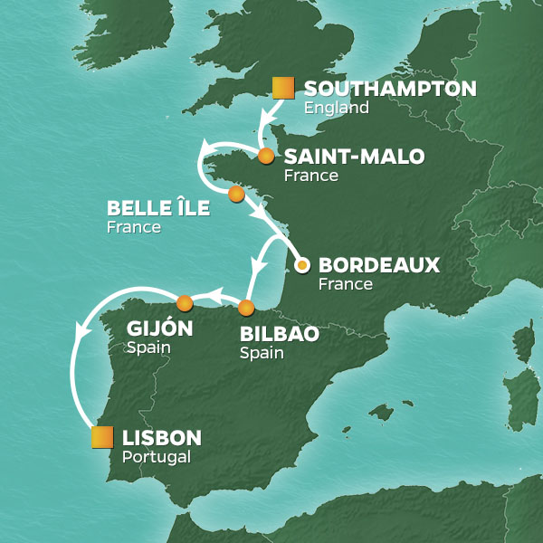 Wine and Romance cruise itinerary map, from Southampton to Lisbon