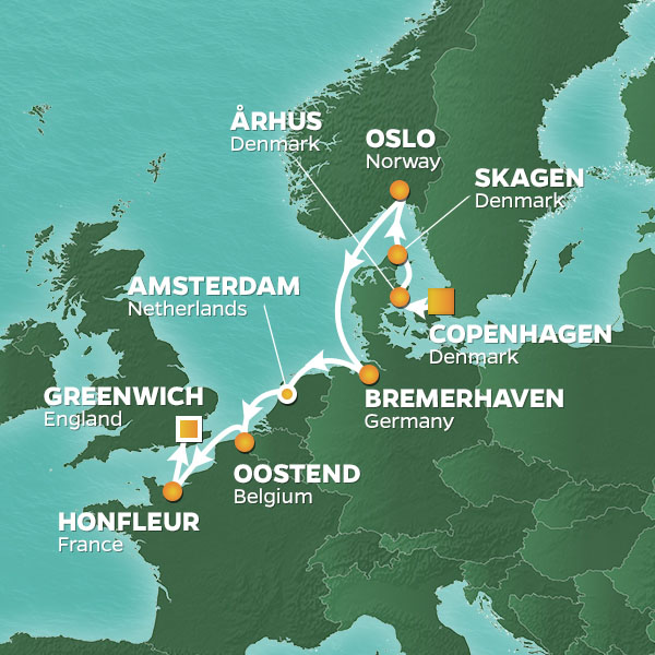 Cities of Northern Europe cruise itinerary map, with stops in Norway, Germany, Belgium, and France