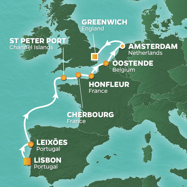 Normandy and Amsterdam Voyage cruise itinerary map, from Portugal to England