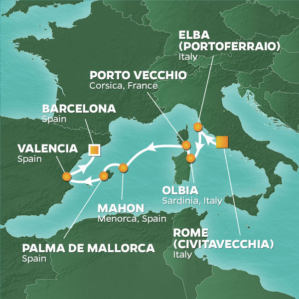Map detailing voyage route