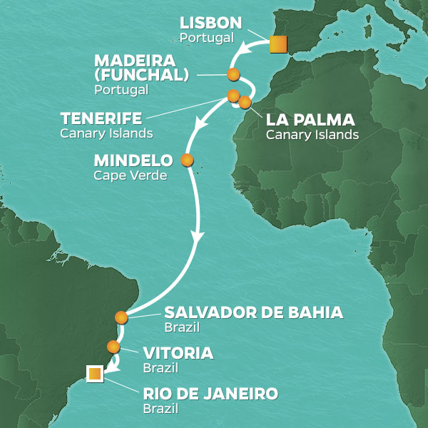 Portuguese Discoveries cruise itinerary map, from Lisbon to Rio de Janeiro