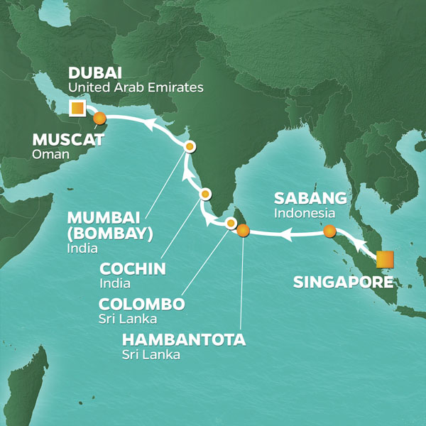 Sri Lanka and India Odyssey cruise itinerary map, from Singapore to Dubai