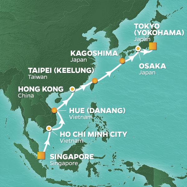 Springtime in Asia cruise itinerary map, Singapore to Tokyo with stops in Vietnam, China and Taiwan