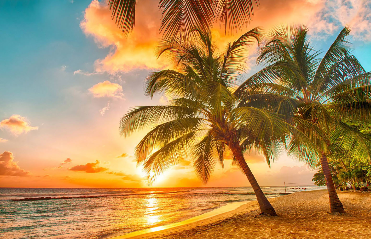 A sunset on a Caribbean beach.